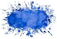 Fondo azul artístico abstracto del objeto del chapoteo de la acuarela Fotografía de archivo
