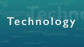 Fondo azul claro con diversas palabras, que se ocupan de tecnolog?a Cierre para arriba Copie el espacio 3d Animatiom 4K stock de ilustración