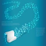 Fondo azul claro de la música con la lista blanca de papel con los bastones y clave de sol y otras notas de ella a lejos Foto de archivo