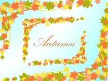 Fondo azul claro del otoño con un marco bajo la forma de hojas de arce y líneas coloreadas Foto de archivo