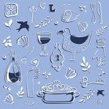 Fondo azul con cosas del mar Imagen de archivo libre de regalías