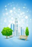 Fondo azul con el árbol y el banco del paisaje de la ciudad stock de ilustración