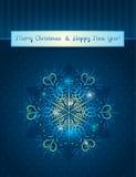 Fondo azul con el copo de nieve, vector Fotografía de archivo libre de regalías