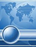 Fondo azul con el globo y el mapa del mundo libre illustration