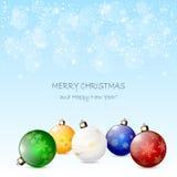 Fondo azul con las bolas de la Navidad Imagenes de archivo