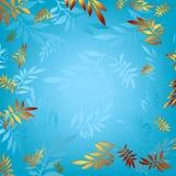 Fondo azul con las hojas de bronce talladas ilustración del vector