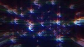 Fondo azul con las muestras euro iridiscentes stock de ilustración