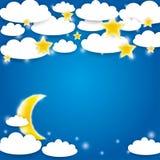 Fondo azul con las nubes, las estrellas y el levantamiento blancos de la luna Vector Fotos de archivo libres de regalías
