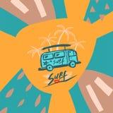 Fondo azul con las palmeras y la plantilla del autobús libre illustration