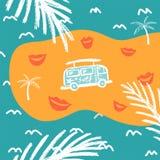 Fondo azul con las palmeras y la plantilla del autobús stock de ilustración