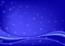 Fondo azul con los copos de nieve ilustración del vector