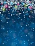 Fondo azul con los copos de nieve, illustrati del vector Foto de archivo libre de regalías