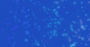 Fondo azul con los copos de nieve - nieve que cae de la Navidad stock de ilustración