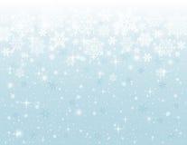 Fondo azul con los copos de nieve, vector Foto de archivo
