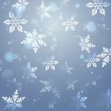 Fondo azul con los copos de nieve, vector Fondo del `s del Año Nuevo La Navidad Fotografía de archivo