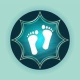 Fondo azul de azul de cielo del botón de dos huellas del resplandor solar vidrioso mágico humano del icono fotos de archivo libres de regalías