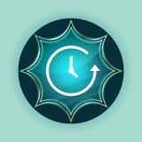 Fondo azul de azul de cielo del botón del resplandor solar vidrioso mágico del icono de la historia ilustración del vector
