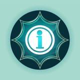 Fondo azul de azul de cielo del botón del resplandor solar vidrioso mágico del icono de la información fotografía de archivo libre de regalías