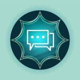 Fondo azul de azul de cielo del botón del resplandor solar vidrioso mágico del icono de los comentarios ilustración del vector