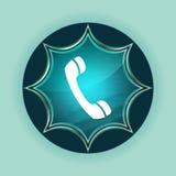 Fondo azul de azul de cielo del botón del resplandor solar vidrioso mágico del icono del teléfono fotos de archivo