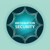 Fondo azul de azul de cielo del botón del resplandor solar vidrioso mágico de la seguridad de información stock de ilustración