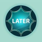 Fondo azul de azul de cielo del botón del resplandor solar vidrioso mágico posterior foto de archivo