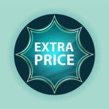 Fondo azul de azul de cielo del botón del resplandor solar vidrioso mágico del precio adicional imagen de archivo