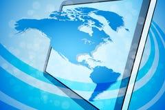 Fondo azul de correspondencia de mundo Foto de archivo libre de regalías