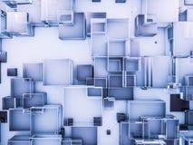 Fondo azul de cristal abstracto del hexágono 3d Fotografía de archivo libre de regalías
