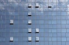 Fondo azul de edificio de oficinas de la ventana en la ciudad de Zagreb Fotos de archivo libres de regalías