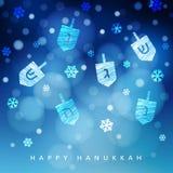 Fondo azul de Jánuca con nieve, luz y dreidels que caen Ejemplo borroso festivo moderno del vector para judío