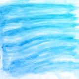 Fondo azul de la acuarela abstracta de la mano, tarjeta del ejemplo de la trama Imagenes de archivo