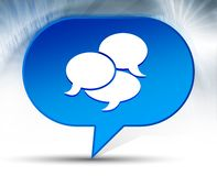 Fondo azul de la burbuja del icono de la conversación foto de archivo