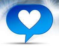 Fondo azul de la burbuja del icono del corazón libre illustration