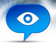 Fondo azul de la burbuja del icono del ojo foto de archivo