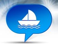 Fondo azul de la burbuja del icono del velero stock de ilustración
