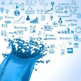 fondo azul de la estrategia empresarial del splashand del color de la pintura 3D Foto de archivo