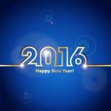 Fondo azul de la Feliz Año Nuevo 2016 con efecto luminoso del punto Imagen de archivo libre de regalías