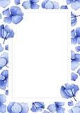 Fondo azul de la flor de la hortensia de la acuarela Fotografía de archivo