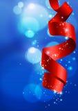 Fondo azul de la Navidad con Bokeh y la cinta Foto de archivo