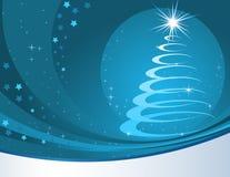 Fondo azul de la Navidad con el árbol estilizado de la piel. Fotos de archivo libres de regalías