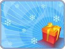 Fondo azul de la Navidad con el rectángulo de regalo. Foto de archivo