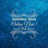 Fondo azul de la Navidad con la etiqueta para la venta, vec Fotografía de archivo libre de regalías