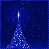 Fondo azul de la Navidad con la Navidad tr ilustración del vector