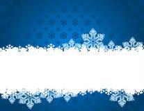 Fondo azul de la Navidad con los copos de nieve. ilustración del vector