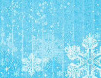 Fondo azul de la Navidad con los copos de nieve. Fotos de archivo libres de regalías