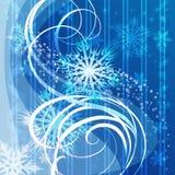 Fondo azul de la Navidad con los copos de nieve Fotos de archivo