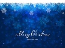 Fondo azul de la Navidad con los copos de nieve stock de ilustración