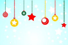 Fondo azul de la Navidad con los juguetes de la Navidad Ejemplo plano Fotos de archivo