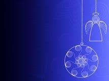 Fondo azul de la Navidad con los ornamentos ilustración del vector
